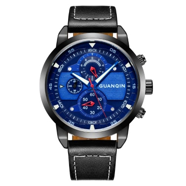 GUANQIN Sapphire Luminous Sports Style Quartz Men Watch Water-Proof Genuine Leather Man Casual Wristwatch Chronograph Watch + Box