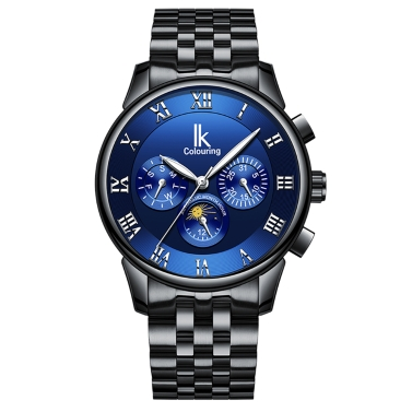 IKColouring Fashion Business Automatic Men Watches 1ATM Life Water-resistant Luminous Mechanical Man Wristwatch Calendar Moon Phase