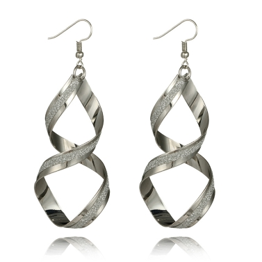 Simple and Fashion Personality Long Earrings Irregular Geometry Rotating Wave Eardrop with Zinc Alloy