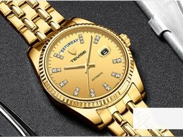 TEVISE T833A Geschäftsleute Automatische Mechanische Uhr Zeit Kalenderanzeige Mode Lässig Edelstahlband 3ATM Wasserdichte Leuchtende Hände Männliche Armbanduhr