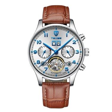 TEVISE T836B Marke Mode Herrenuhr Luxus Mechanische Selbstwind Automatische Armbanduhr Sport Leder Uhr Relogio Masculino für Geschenk