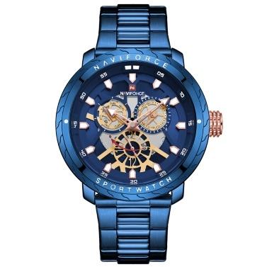 NAVIFORCE Edelstahlband Quarz Armbanduhr
