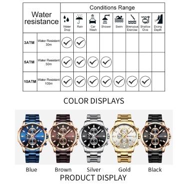CURREN 8348 Quartz Man Armbanduhren mit Edelstahlarmband Armbanduhr für Männer Datumsanzeige Kalender Drei Hilfszifferblätter Sekunden-Mikrosekunden-Chronograph Wasserdicht Leuchtzeiger Tragbares Zubehör