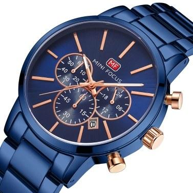 MINI FOCUS Classic Men Quartz Watch Analog Chronograph Business Wrist Watch with Calendar 3ATM Waterproof Luminous Pointer Dress Watch