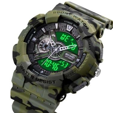 SKMEI Quartz Digital Electronic Men Watch Dual Time Mode Date Week Alarm Clock Backlight 5ATM Waterproof Male Fashion Sports Watches Wristband for Daily Life Business Men
