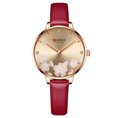 Women Quartz Watch CURREN Female Fashion Analog Wrist Watch 3ATM Waterproof Ladies Watch with Leather Watch Strap