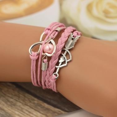 Mode Multi-Layer-Legierung Leder Herzförmigen Amor Pfeil gewebt Armband für Frauen Schmuck