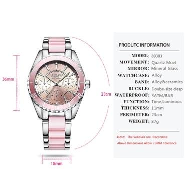 LONGBO Women Fashion Watch Ceramic And Alloy Band Analog Wristwatch Exquisite Waterproof Quartz Watches