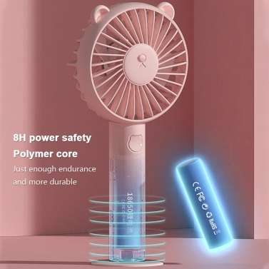Handheld Mini Fan USB wiederaufladbare einstellbare Windgeschwindigkeit Cute Bear Cartoon Desktop-Kühlventilator mit Ständer