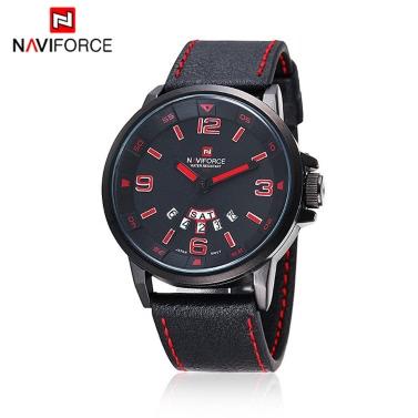 NAVIFORCE praktische 3ATM Water Widerstand Armbanduhr PU Leder Armband hochwertige Quarzuhr mit Funktion Datum Woche