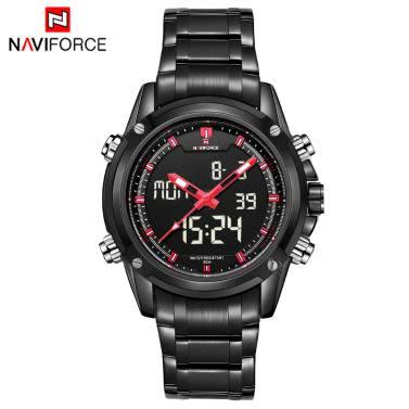 NAVIFORCE Luxus Marke Digital / Analog-Sport Einsatzuhr 3ATM wasserdicht leuchtende Männer Quartz Armbanduhr