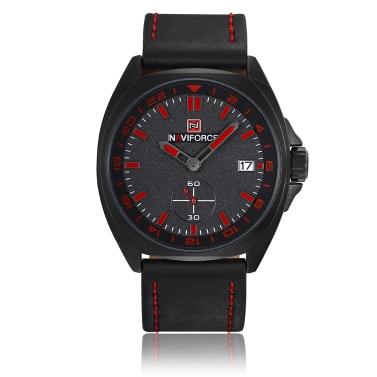 NAVIFORCE Art- und Weiseechtes Leder-Quarz-Mann-Uhr-Sport-Art 3ATM wasserdichter Mann-beiläufiger Armbanduhr-Kalender + Kasten