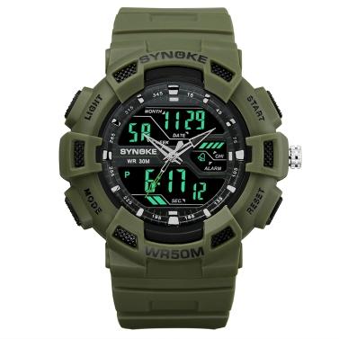 SYNOKE Digitale Sportuhr 5ATM wasserdicht Männer Uhren Hintergrundbeleuchtung Armbanduhr Männlichen Stoppuhr