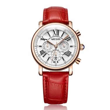 Megir mode luxus frauen uhren 3atm wasserdicht quarz frau armbanduhr chronograph kalender
