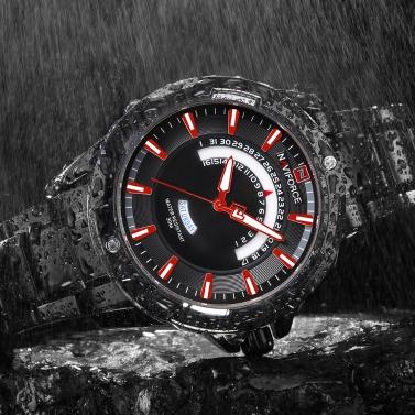 NAVIFORCE Fashion Stainless Steel Men Watches 3ATM Water-resistant Quartz Luminous Casual Man Wristwatch Male Relogio Musculino