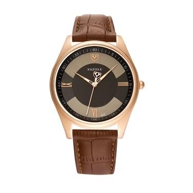 YAZOLE 416 Leder Uhr Quarzuhr Mode lässig Business Armbanduhr
