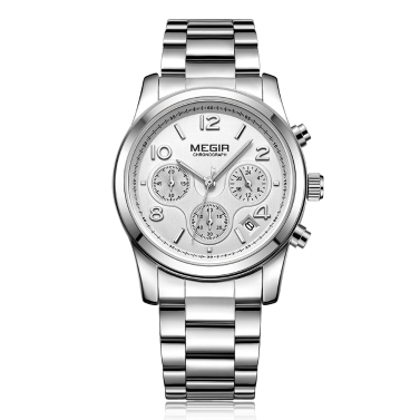 Megir mode luxus edelstahl frauen uhren 3atm wasserdicht quarz leuchtende frau armbanduhr chronograph kalender