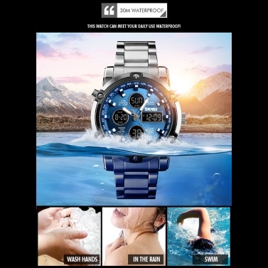 Fashion Watch Trend Multi-functional Three Time Large Dial Business Men