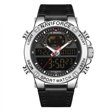 NAVIFORCE Leather Band Quartz Elektronische Armbanduhr