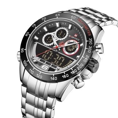 NAVIFORCE Quartz Digital Electronic Men Watch Dual Time Mode Date Week Alarm Clock Backlight 3ATM Waterproof Male Fashion Sports Watches Wristband for Daily Life Business Men