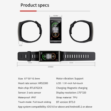 LEMFO DM12 1.91-Inch TFT Screen Smart Bracelet Sports Watch