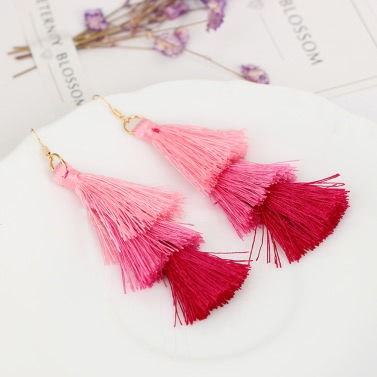 Fashion Retro Bohemia Three-layer Color Long Fringe Dangle Hook Earrings for Women Jewelry