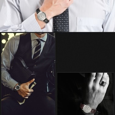 SYNOKE Elegant Simple Business Men Wristwatch Real Leather Strap