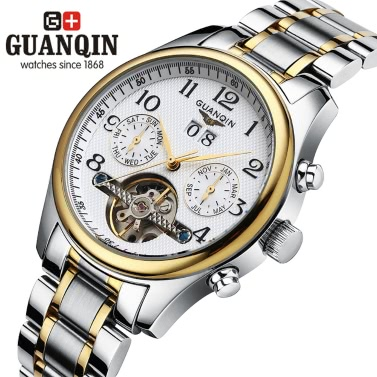 GUANQIN Luxury Brand Sapphire Business Men Automatic Mechanical Wristwatch Waterproof Genuine Leather Male Casual Watch with sub-dials