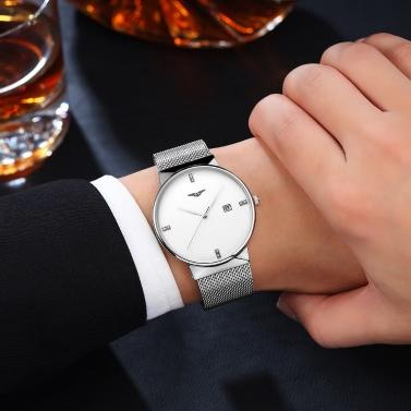 GUANQIN Stainless Steel Mesh Strap Quartz Watch Trendy Analog Man Business Wristwatch Rhinestone Hour Markers