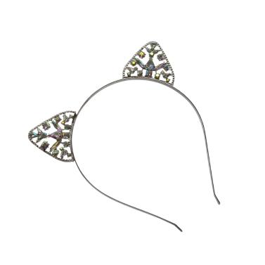 Mode Katze Ohren Haarband Stirnband für Frauen Nette Katze Ohren Kristall Krone Tiara Haarband Prinzessin Kopfschmuck