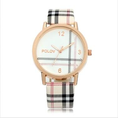 Reloj de cuarzo Reloj de pulsera de correa de cuero de PU para mujer Reloj de mujer casual