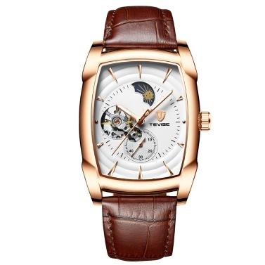 TEVISE T802D Geschäftsleute Automatische Mechanische Uhr Mode Lässig Lederband Männliche Armbanduhr