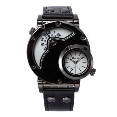 Oulm Uhr Zwei Zeitzone Mann Quarz Uhren Marke Luxury Lederband Sport Armbanduhr Mit Zwei Bewegung Männliche Uhr Relogio Masculino