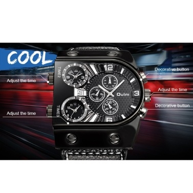 OULM Men Three Time Zones Leather Band Quartz Watch Cool Big Dial Analog Wrist Watches