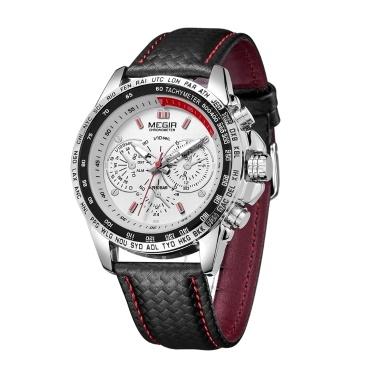 MEGIR 1010G Luxury Business Big Large Face Quartz Men Watch