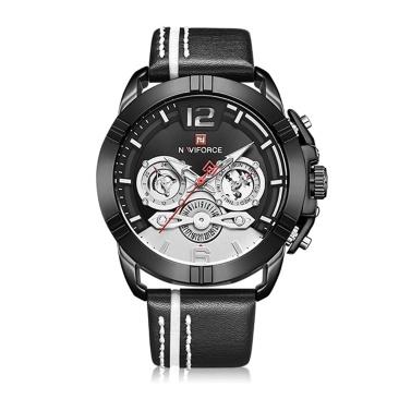NAVIFORCE Lederband Quarz Armbanduhr