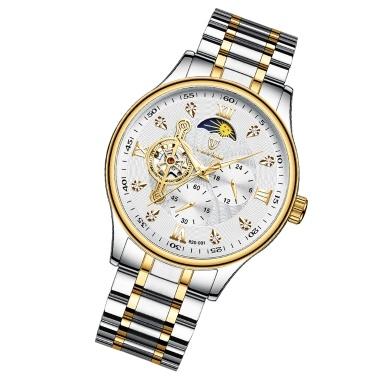TEVISE Herren Automatik Mechanische Uhr Analog Chronograph Armbanduhr 30M Wasserdicht mit Mondphase Leuchtzeiger Edelstahlarmband