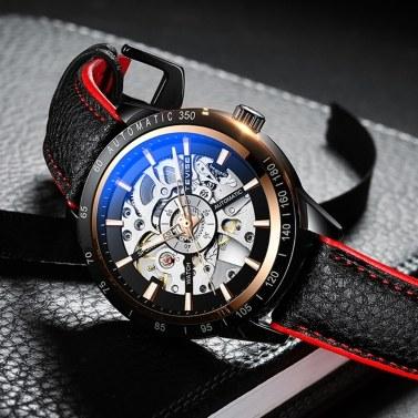 TEVISE Herrenuhr Automatische mechanische Uhr Armbanduhr 30M Wasserdichtes, leuchtendes Zeiger-Lederarmband