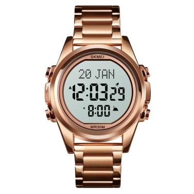 SKMEI Muslim Digital Watch for Prayer Qibla Compass Hijri Calendar Quran Bookmark City Selection Function Date Week Alarm Backlight 3ATM Waterproof Men Azan Watches Islamic Wristband Men