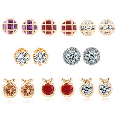Arbeiten Sie Charme-Kristallrhinestone-Gold überzogenes Metall Kupfer-Ohr-Bolzen-Ohrring-Schmucksachen für Frauen