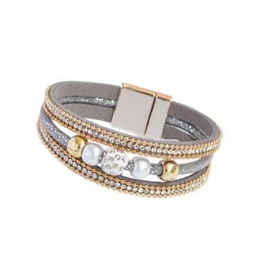 Art- und Weisefrauen-mehrschichtiges Armband-Armband-Kristall wulstiges ledernes magnetisches Unisexart Wristband