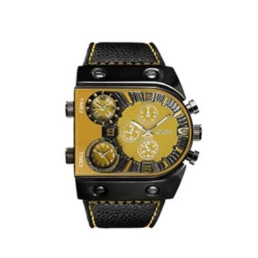 OULM Männer Drei Zeitzonen Lederband Quarz Uhr Coole Zifferblatt Analoge Armbanduhren