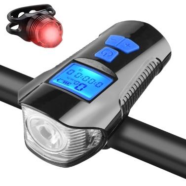 LED wiederaufladbares Fahrradrücklicht und Frontlichtset Fahrradscheinwerfer mit Fahrrad-Tachometer Kilometerzähler