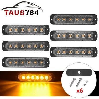 6PCS Baliza de peligro amarilla 6 luces estroboscópicas LED Luz de marcador lateral de emergencia intermitente