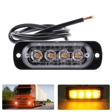 4LED Strobe Light Emergency Flashing Side Marker Light Bar Warning Signal Towing Truck Flashing Lamp
