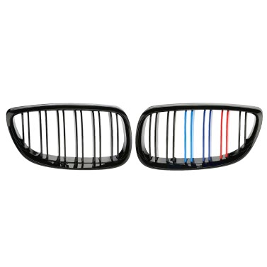 One Pair of Gloss Black M-color Car Front Grille Grilles for BMW E92 2006-2009