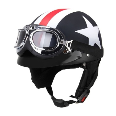 Half Open Face Motorcycle Helmet with Goggles Visor Scarf Biker Scooter Touring Helmet