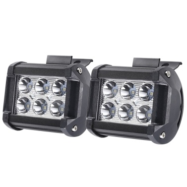 2pcs 18W Car Work Light Bar 6000K Lighting for Jeeps Offroad SUVs Boats IP67 Water-resistance High-strength LED Driving Lamp