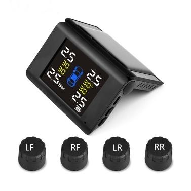 Solar Wireless Reifendruckmonitor TPMS Reifendruckdetektor Autoreifenüberwachungssystem mit 4 externen Sensoren