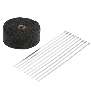 15m wärmegedämmt Auspuff Hitze Wrap Turbo Rohr Wickel 10-30cm-Kabelbinder für Auto-Motorrad